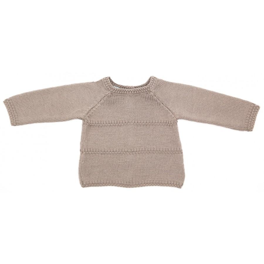 Brassière prématuré en laine mérinos taupe