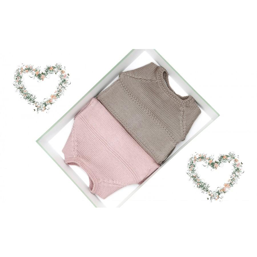 Deux brassières laine bébé préma- taupe et rose