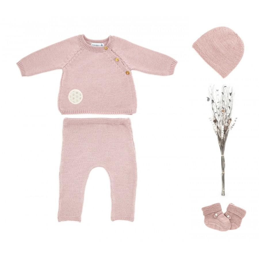 Tenue de naissance, 1 mois, ensemble naissance fille rose, ensemble bébé en laine, cadeau de naissance, jumelles, made in france