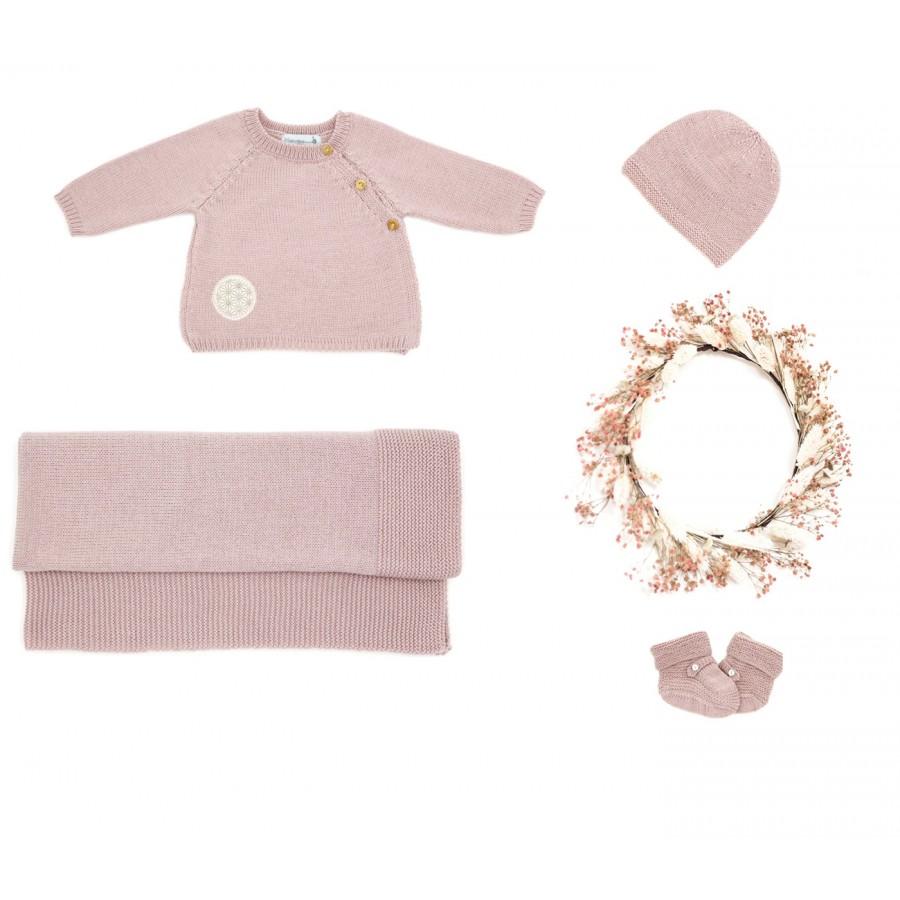 Trousseau bébé prématuré : brassière, bonnet, chaussons, couverture laine mérinos - rose
