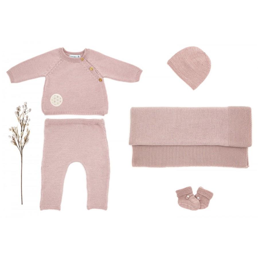 Trousseau de naissance complet fille 1 mois rose, layette made in france, tenue naissance garçon