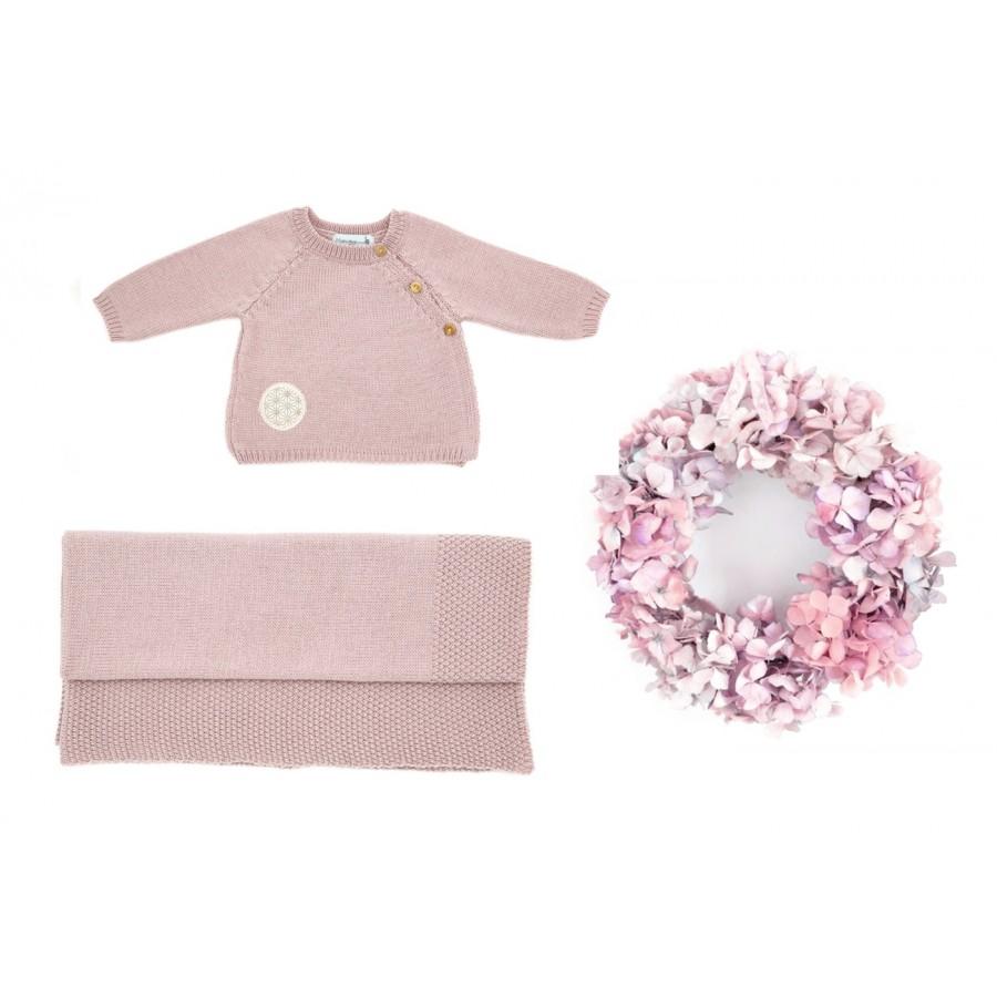 Trousseau naissance fille rose brassière couverture, coffret naissance Made in France, layette bébé 1 mois, trousseau maternité