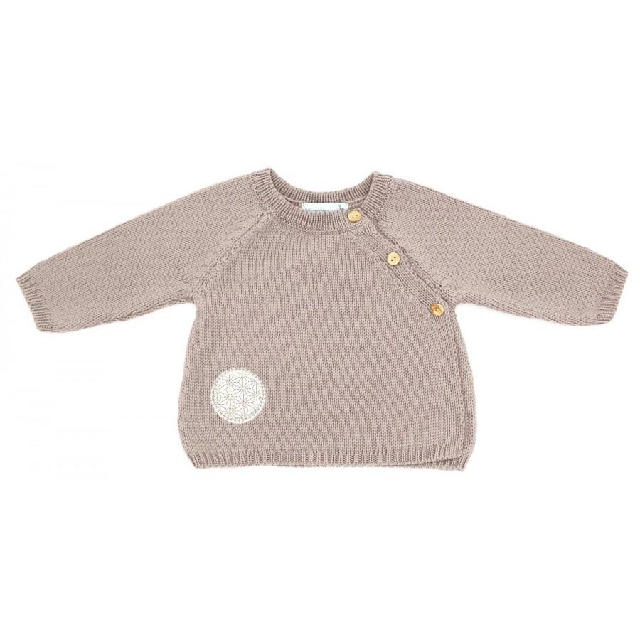 Brassière laine bebe 1 mois taupe, brassière bébé laine mérinos, layette tricot, jumeaux, brassière maternité