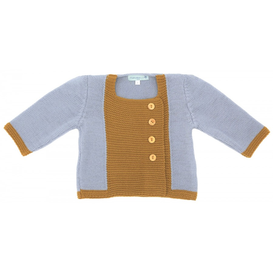 Gilet bebe mixte 1 mois laine mérinos, tricoté en France, cadeau naissance, layette naissance, jumeaux, jumelles, gris, moutarde