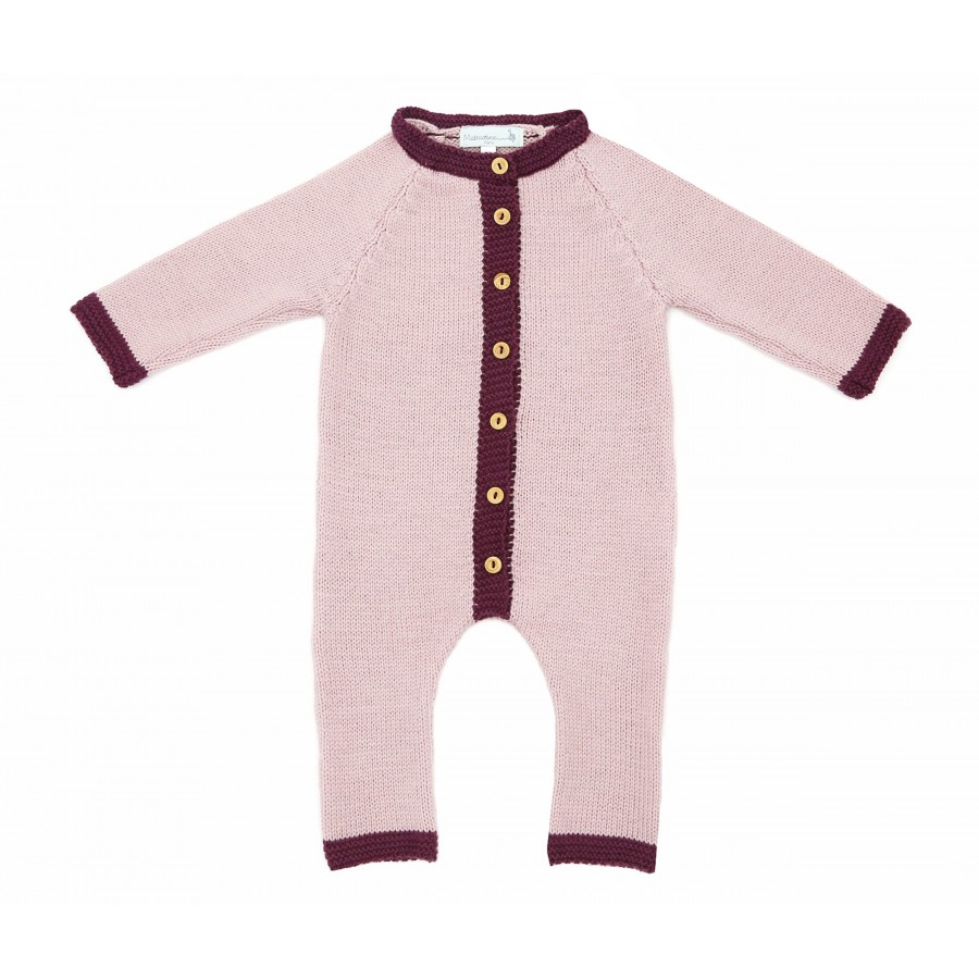 Combinaison maille 3 mois rose, combinaison laine mérinos bebe, Made in France