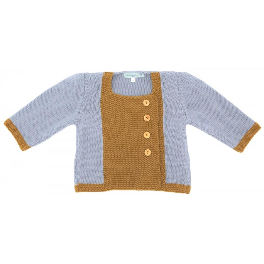 Gilet bebe mixte 6 mois laine mérinos, tricoté en France, cadeau naissance, layette naissance, jumeaux, jumelles, gris, moutarde