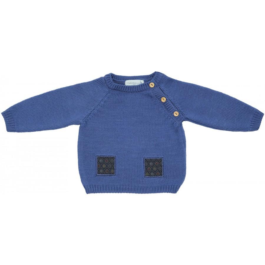 Pull bebe laine merinos bleu