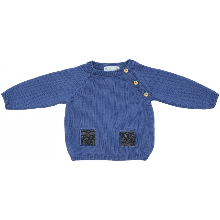 Pull bébé laine mérinos bleu