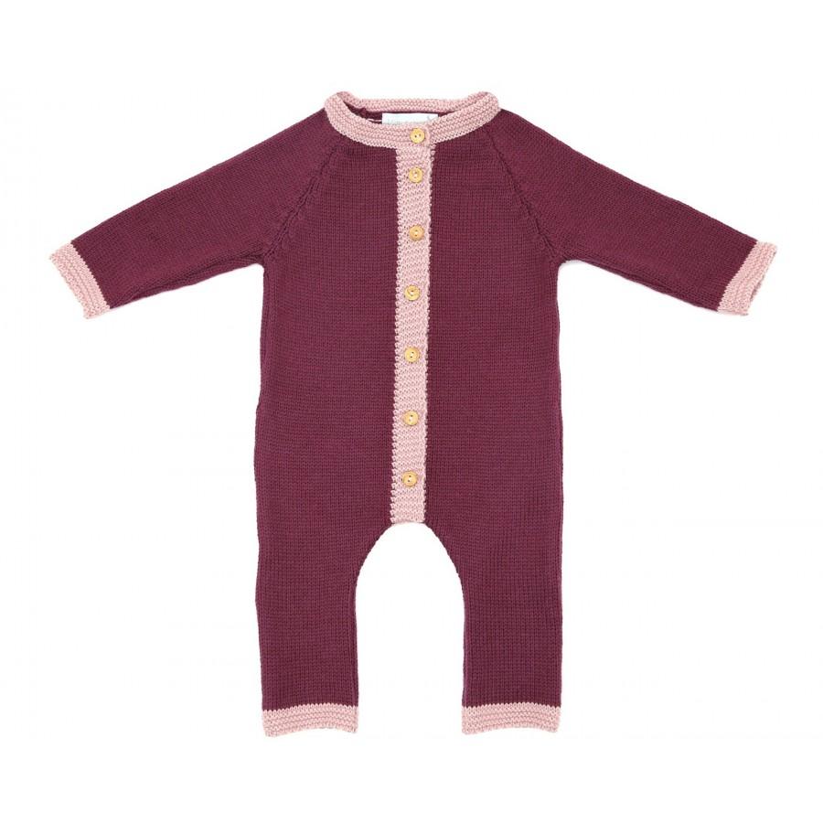 Combinaison laine merinos bébé fille prune