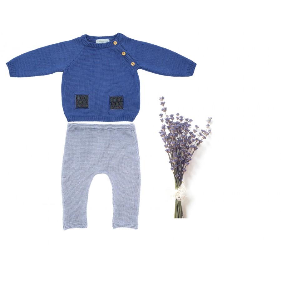 Ensemble naissance mixte pull et pantalon laine