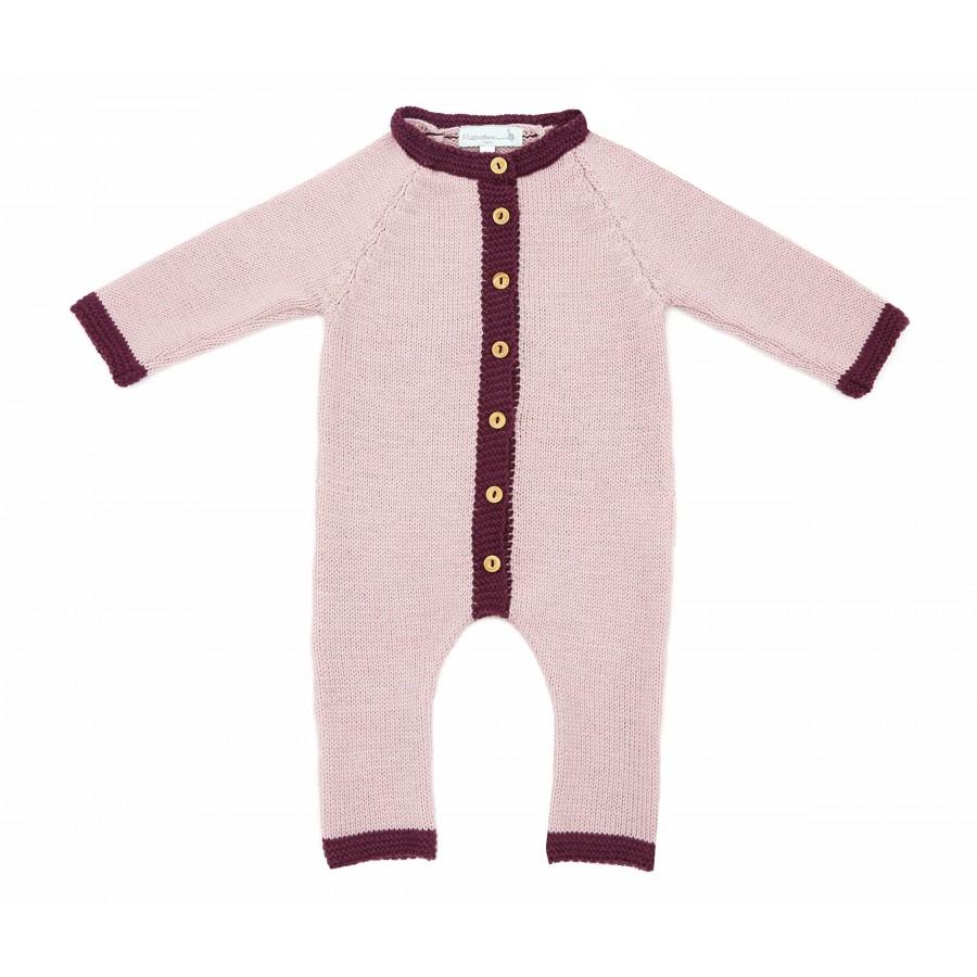 Combinaison laine merinos bébé fille rose
