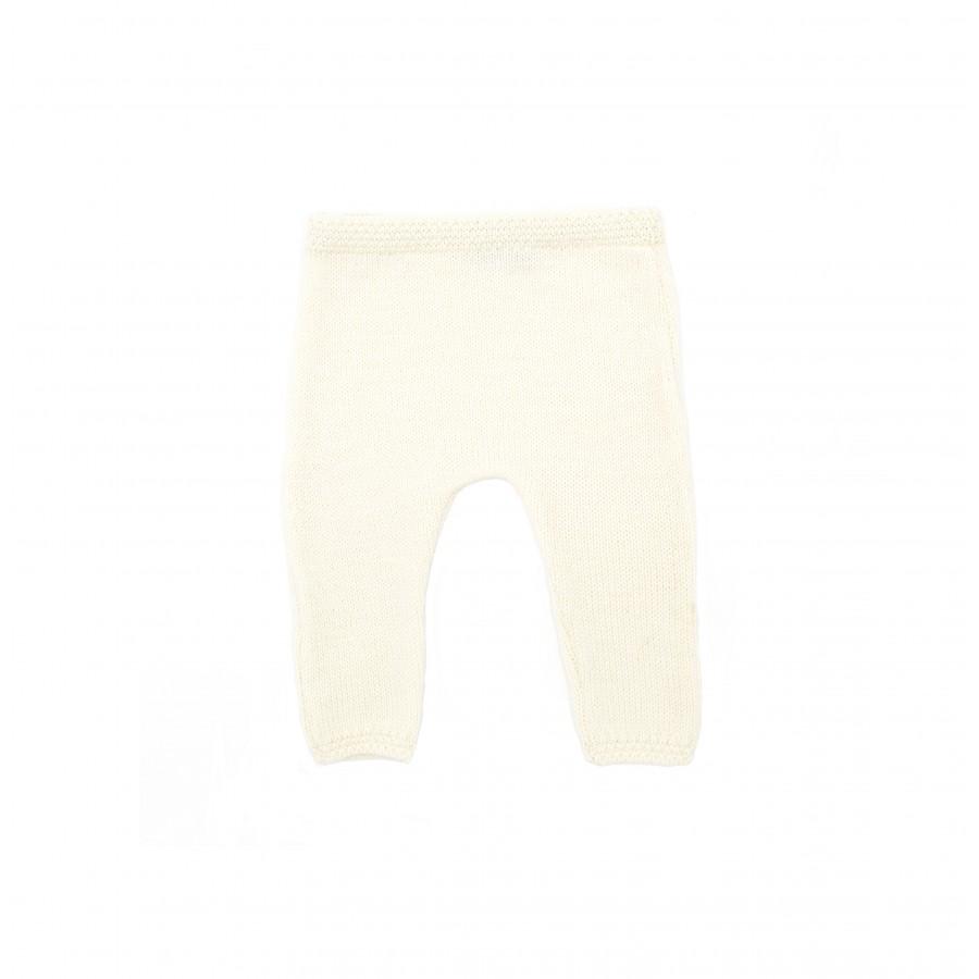 Pantalon bébé tricot écru made in france Mistricotine