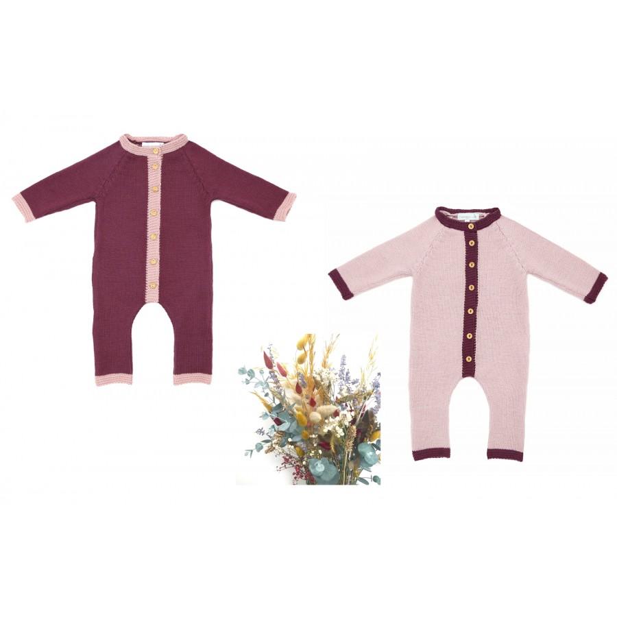 Vêtements bébés jumeaux Made in France deux combinaisons tricot