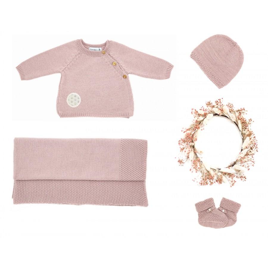 Trousseau de naissance Made in France brassière, bonnet, chaussons, couverture bébé laine