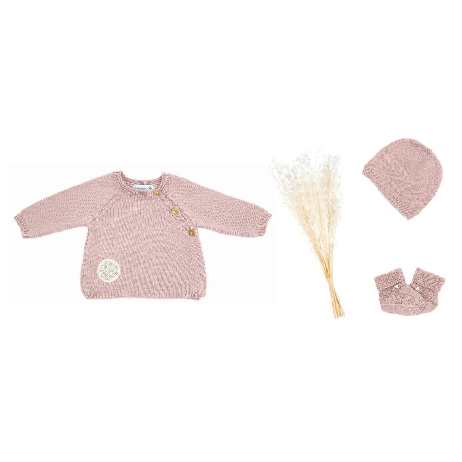 Trousseau de naissance brassière bonnet chaussons tricot rose Mistricotine