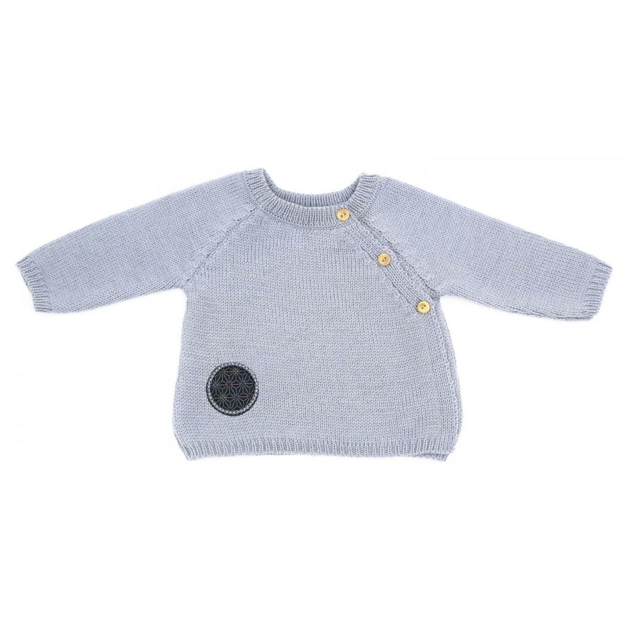Brassière bébé gris laine mérinos made in france