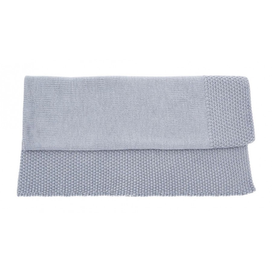Couverture laine bébé - 100% mérinos - gris