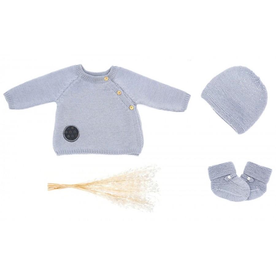 Trousseau de naissance brassière bonnet chaussons tricot Made in France