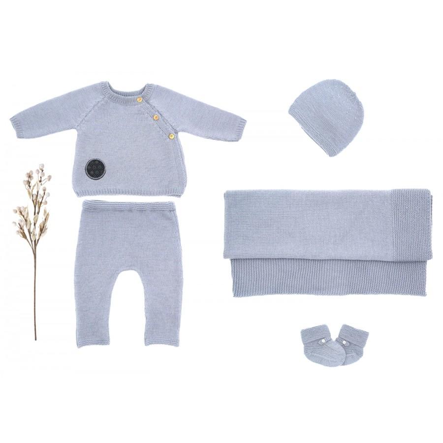 Trousseau de naissance complet mixte 3 mois gris bleu, layette made in france, tenue naissance mixte