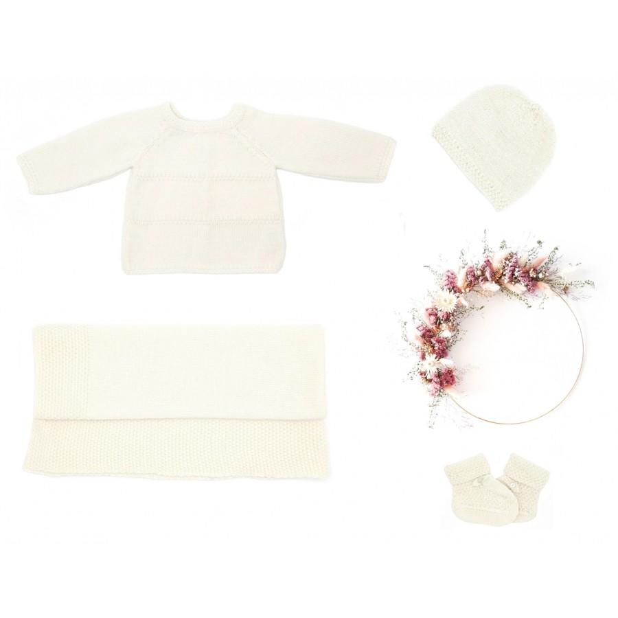 Trousseau de naissance 1 mois écru tricot laine mérinos brassière, couverture, bonnet, chaussons, cadeau de naissance jumeaux