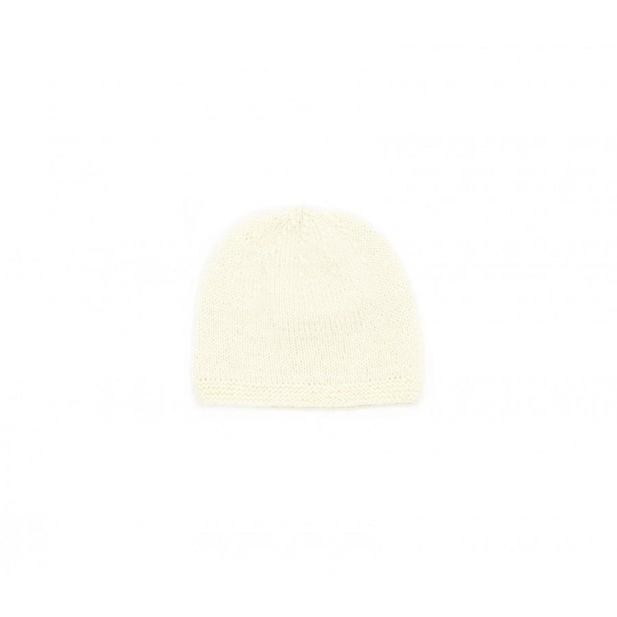 Bonnet naissance laine mérinos, bonnet bébé laine écru, bonnet bébé tricoté main, bonnet tricot bébé