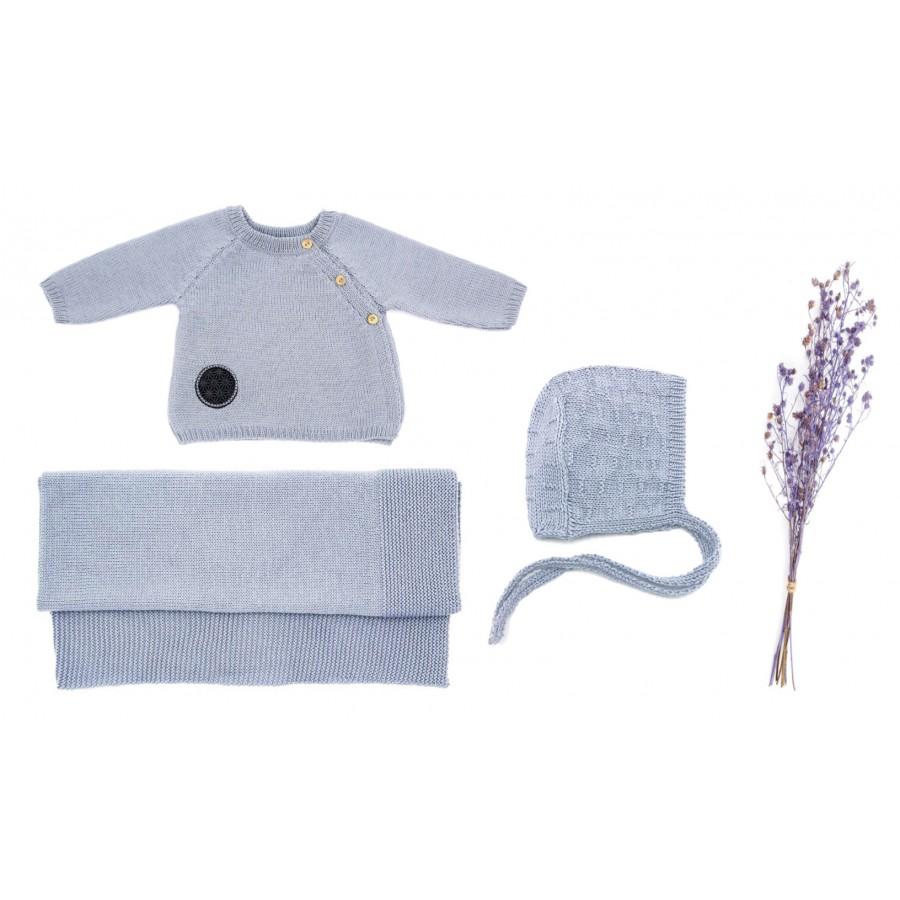 Trousseau de naissance Made in France brassière, béguin, couverture bébé laine mérinos