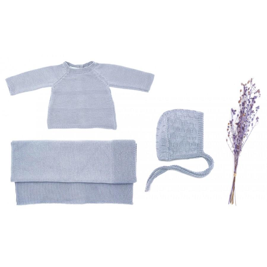 Ensemble naissance made in france brassière, couverture, béguin bébé laine