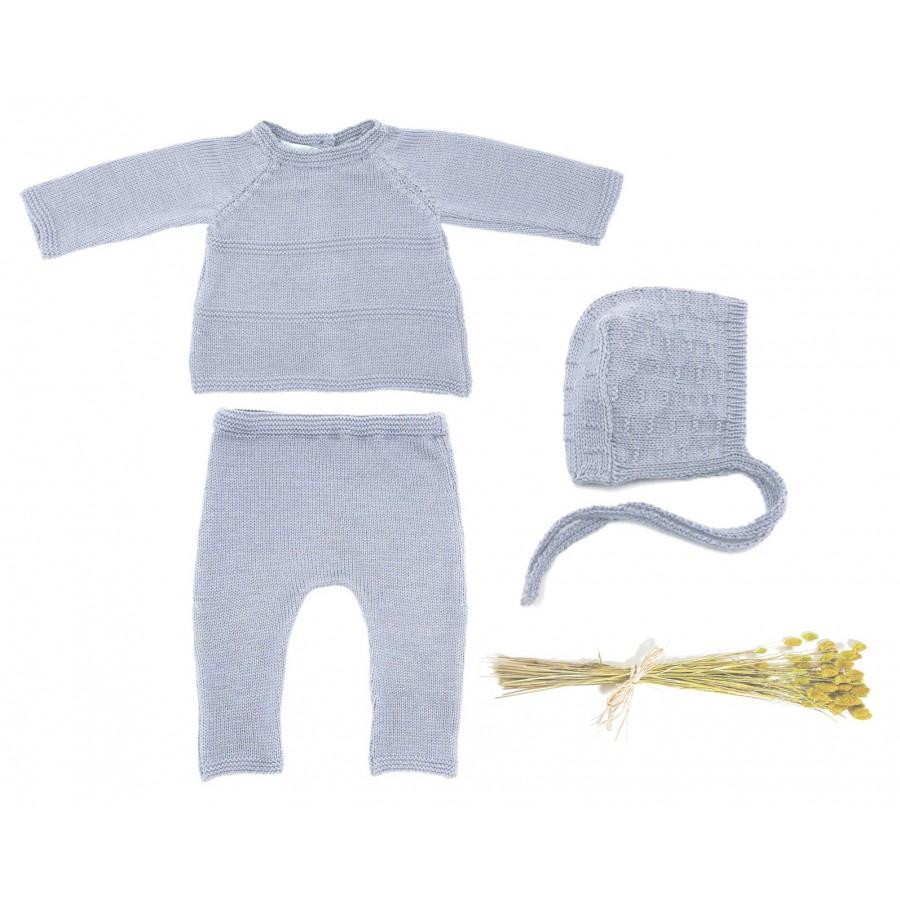 Ensemble naissance 3 mois gris, brassière, pantalon, béguin, tenue naissance, layette jumeaux, cadeau naissance made in France