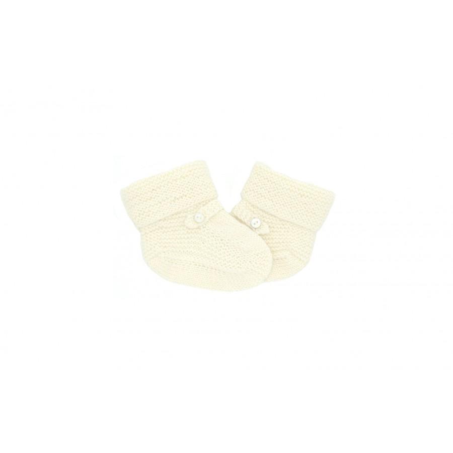 Chaussons bébé tricot Mistricotine écru