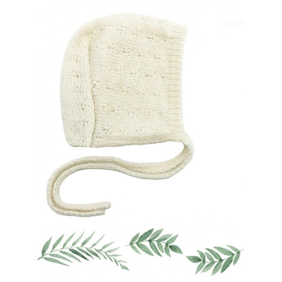 Bonnet Béguin Bébé écru tricoté en Laine mérinos