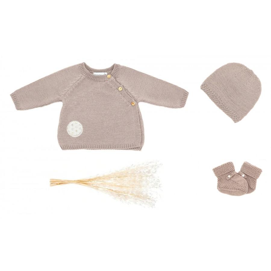 Ensemble maille Bébé Garçon 1 mois brassière bonnet chaussons tricot Made in France