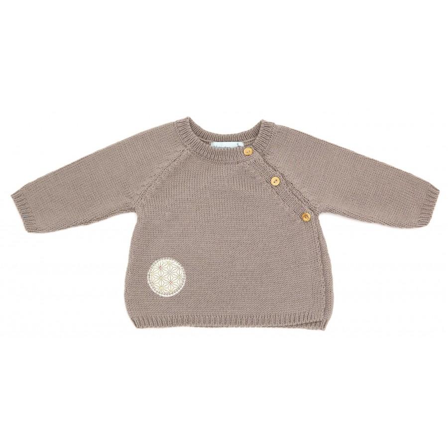 Brassière prématuré laine mérinos taupe