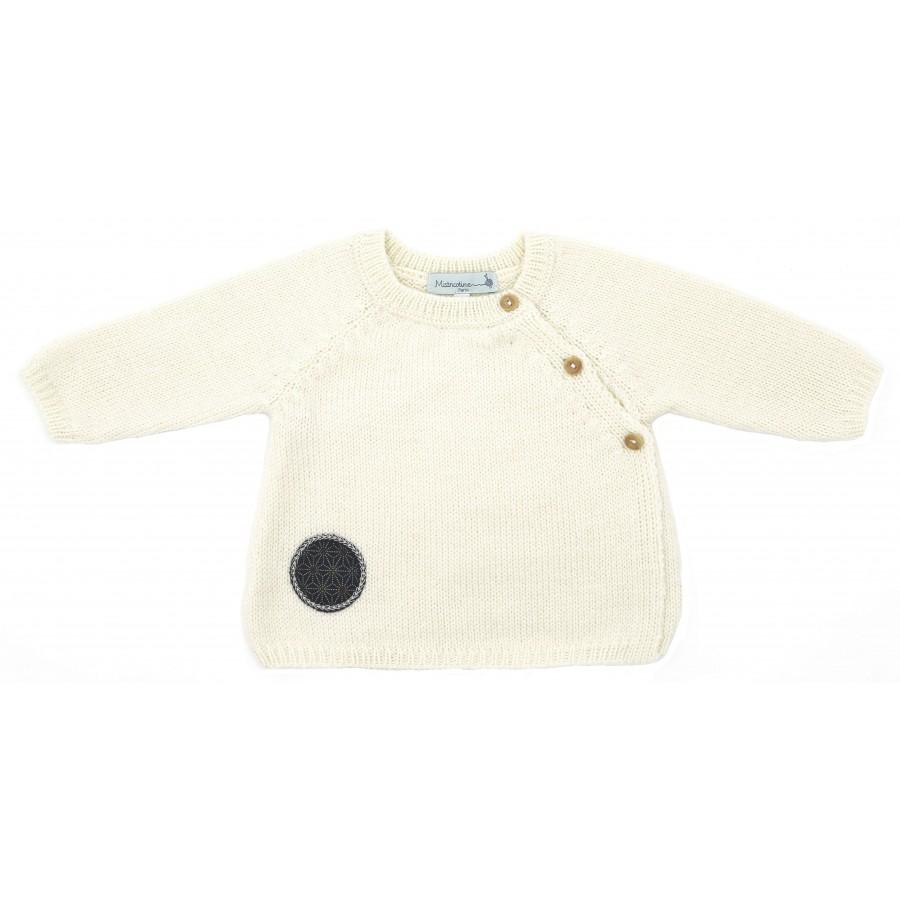 brassière bébé en laine mérinos tricot écru brassière naissance Mistricotine