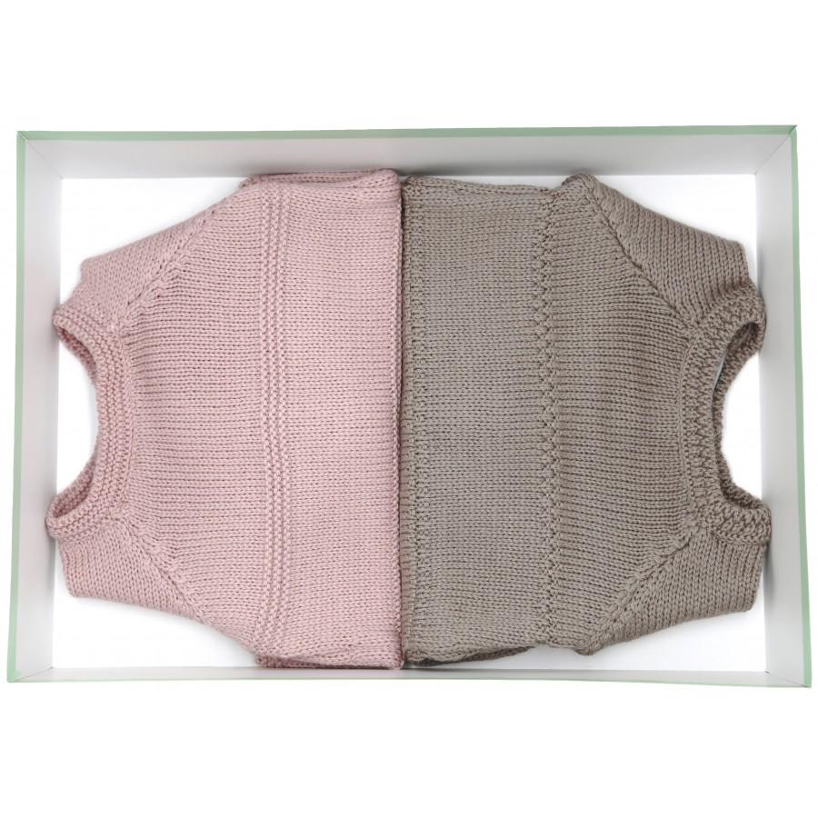 Coffret naissance jumeaux deux brassières laine bébé Mistricotine - taupe et rose