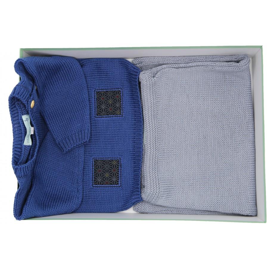 Cadeau de naissance - ensemble pull et pantalon tricot Mistricotine - bleu et gris