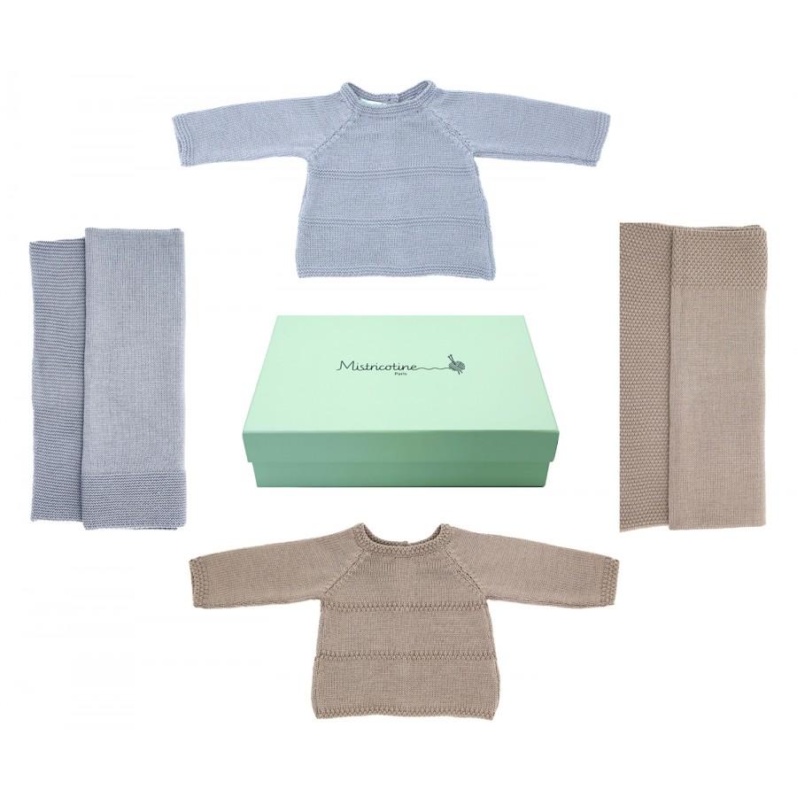 Trousseau de maternité laine deux couvertures deux brassières gris et taupe Mistricotine