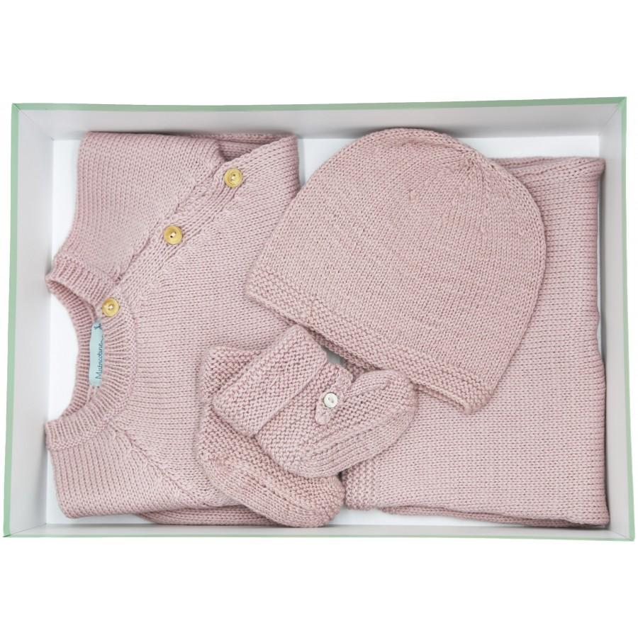 Cadeau de naissance bébé layette française brassière, pantalon, bonnet et chaussons laine mérinos - rose